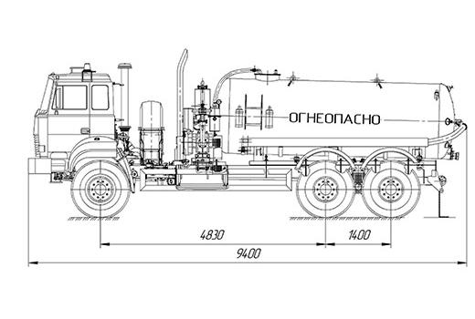 Фото автомобиля Автоцистерна для сбора газового конденсата и нефти АКН-10 на базе Урал-4320